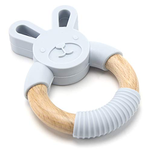 Organic Food Grade Animal Natural Wood & Silicone Baby Teether Chew Toy Ring (Light Grey Bunny)