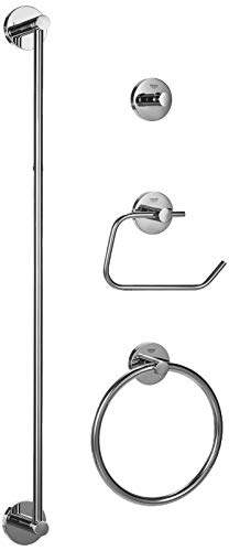 Grohe 40823001 Essentials Metal 27.17-in. 4-in-1 Master Bathroom Accessories Set, Starlight Chrome