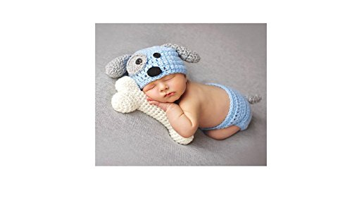 MATISSA Newborn Baby Girl/Boy Crochet Knit Costume Photography Prop Hats and Outfits (Puppy and Bone -