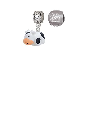 Resin Black and White Cow Mom Charm Bead with You Are More Loved Bead (Set of 2)