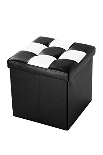 Faux, Folding, Wooden, Leather, Storage, Cube / Ottoman Foot Rest With Checkered Design 15 Inches, Black and White by Juvale