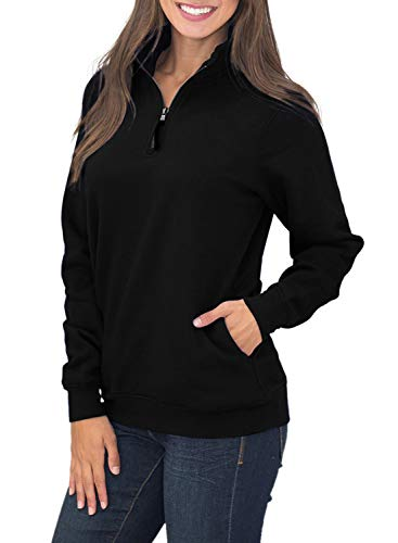 BJGXFMQ Women's Long Sleeve Oversized 1/4 Zip Pullover Sweatshirt Top Pockets Outwear,Black,(US 8-10) Medium