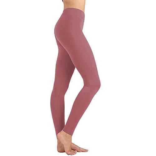 - Women's High Waist Leggings-Super Soft Slim Pants -One/Plus Size 20+ Design (Old Rose, One Size (US 2-12))