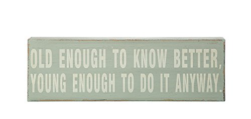 """Creative Co-Op """"Old Enough to Know Better, Young Enough to Do it Anyway"""" Wooden Sign"""