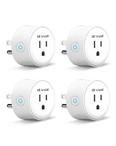 Smart Plug, LE LampUX Smart Socket, Compatible with Alexa & Google Assistant, Mini Wifi Outlet, Remote Control Your Appliances with App and Voice Command, No Hub Required, 2.4GHz Wifi Only(Pack of 4)