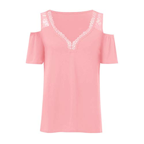 LEXUPA Women's Summer Fashion V-Collar Short Sleeve Leaky Shoulder Plus Size Top Blouse(Pink,Medium) ()