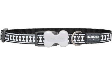 - Red Dingo Reflective Dog Collar, Medium, Black