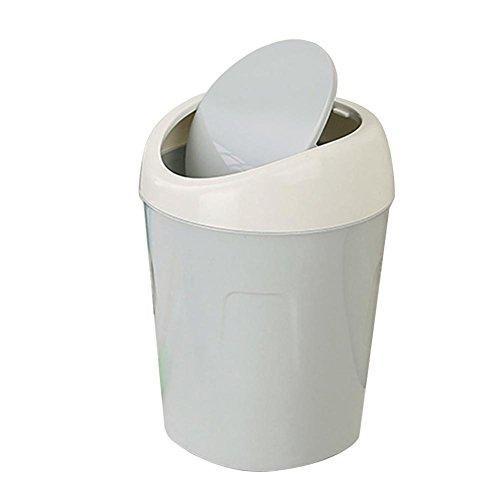 Lavany Mini Desktops Trash Can Trumpet Desktops Trash Cans Covered Living Room Office Kids Bedroom (Light blue)