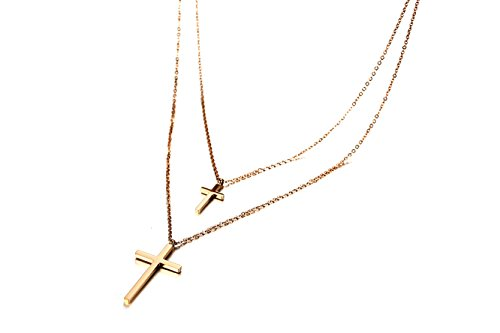 XUANPAI Small Double Cross Pendant Necklace Tiny Chain Choker with Crosses Layered Necklace Gifts for Her