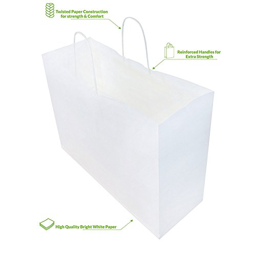 250pcs White Natural Kraft Mechandise Shopping Bag 65# Vogue, Natural White Paper Shoppers,16 x 6 x 12 1/2'' ~250 Bags-~ by SuitEase (Image #5)