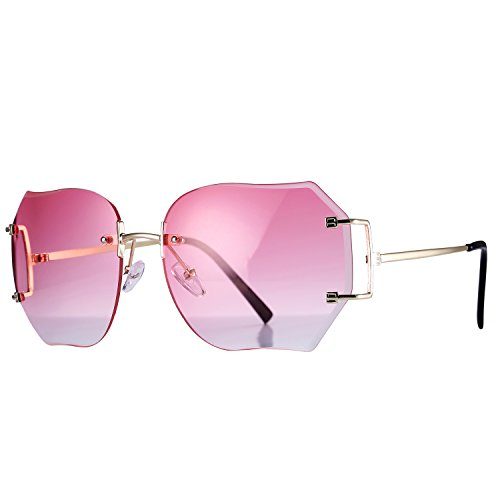 Pro Acme Fashion Oversized Rimless Sunglasses Women Clear Lens Available - Square Glasses Pink