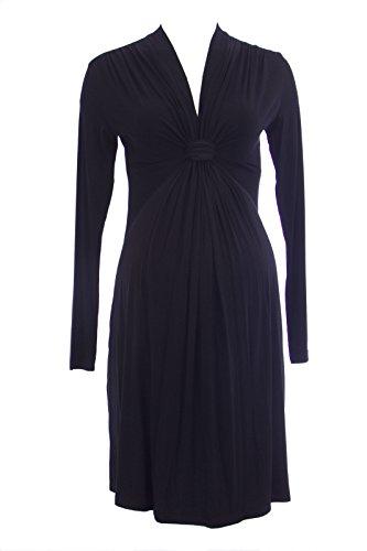 Olian Maternity Women's Knot Accent Long Sleeve Dress Small Black
