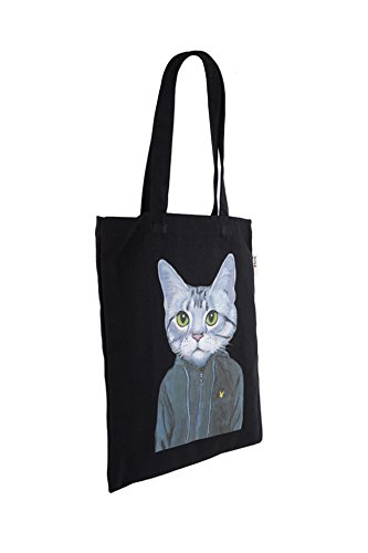 Canvas Tote Bag Cat Black Print (12.99 x 16.54inch) ASAPS by ASAPS (Image #2)