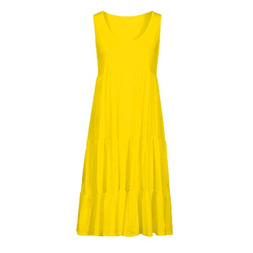 Beach Dress, Women's Vintage Solid Dress Sleeveless Pockets Puffy Swing Casual Summer Party Dress (M, Yellow) by Twinsmall (Image #1)