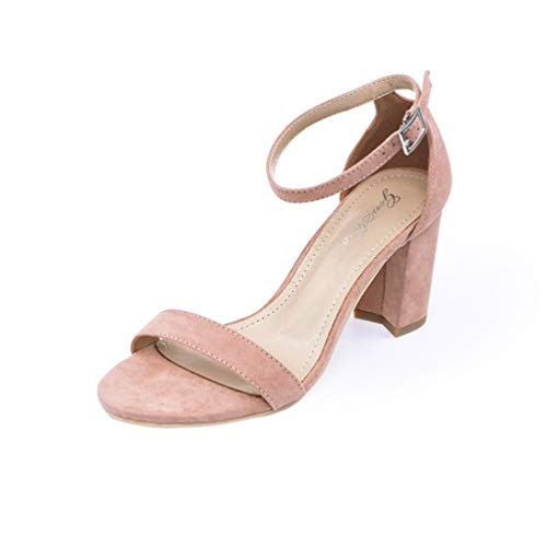 Fiesta Abiertos Sandalias de Tobillo Zapatos de Toe Verano Tacones Correa Altos de Albaricoque Mujer Sandalias Chunky Vestido Tacones XZUWwS7SqO