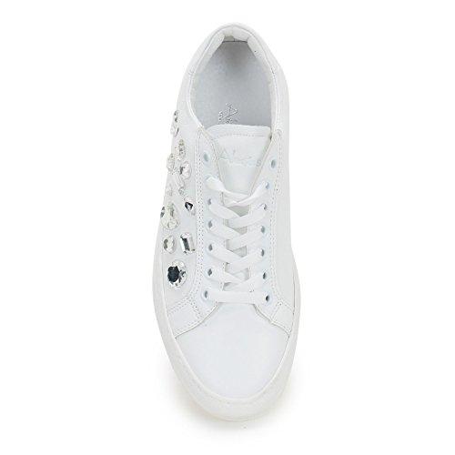 Piel Piedras Blanco amp;scarpe Zapatillas Sport Alesya Scarpe De Con By n8wZna4Cq