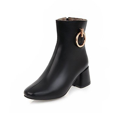 RTRY Women'S Shoes Leatherette Winter Novelty Fashion Boots Boots Chunky Heel Round Toe Mid-Calf Boots Lace-Up For Wedding Casual Black White US9.5-10 / EU41 / UK7.5-8 / CN42 K6WBbo8kGO