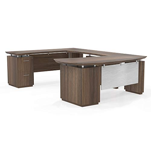 Mayline Sterling Series U Shaped Right Handed Desk System with Bridge and Credenza Box/Box/File and File/File Pedestal,