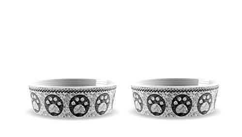 Tar Hong Faux Granite Pet Food & Water Bowl with Paw Print Pattern, Set of 2