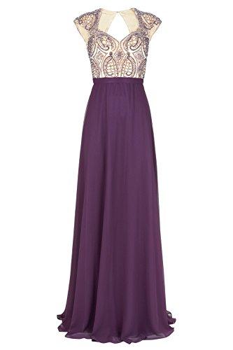 mit 1012717 Aubergine Lange Kleid Damen Dynasty Stil Schal Mira aubergine UqnaWg4