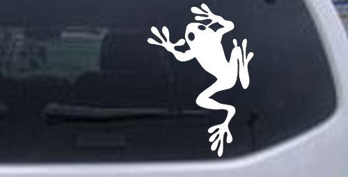 Frog Animals Car Window Wall Laptop Decal Sticker -- White 3in X 4.3in