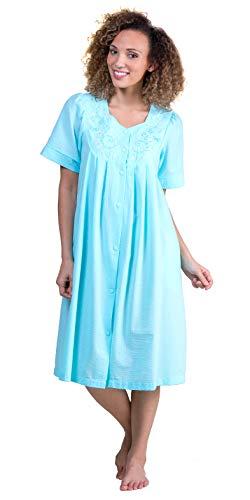 Miss Elaine Short Seersucker Embroidered Robe - Aqua (Aqua, X-Large)