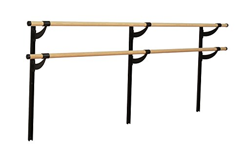 Vita Vibe Ballet Barre - WD108-A-W Traditional Wood 9ft. Double Adjustable Height Wall Mount Ballet Bar - Stretch/Dance Bar - Vita Vibe - USA Made