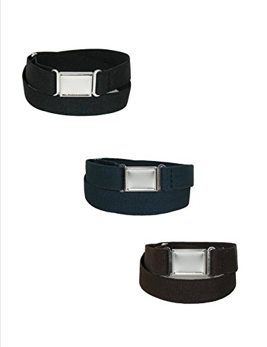 CTM Kids' Elastic Stretch Belt with Magnetic Buckle (Pack of 3), Black