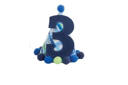 "Price comparison product image Mud Pie Blue ""I'm Three"" Birthday Hat-1002003"