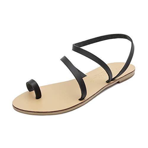Femme Faites D'été Bohèmes Naturel Chics Pour Cuir Plates Grecques En Main La Hekate Sandales Noir À Chaussures Schmick wYqxtgS7q