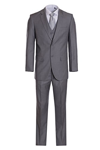 (King Formal Wear Men's Premium Modern Fit Pinstripe Suit - Many Colors (Light Gray pinstripe, 44 Short)...)