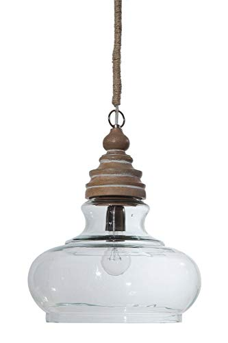 Creative Co-op Glass & Mango Wood Ceiling Pendant Light ()