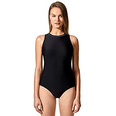 SYROKAN Women's Printed High Neck One Piece Swimsuit Athletic Training Bathing Suits: Clothing
