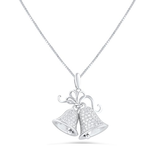 Sterling Silver Cz Christmas Bells Necklace - Bell Sterling Necklace Silver