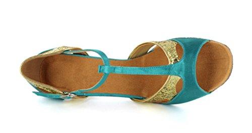 Tda Dames Klassiek Comfort Glanzend Fonkeling Satijn Salsa Tango Ballroom Latin T-strap Dans Sandaal Blauw