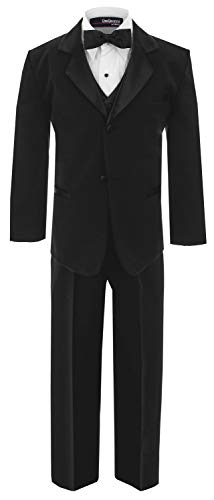 (Little Boy's Usher Tuxedo Suit No Tail G210 (6, Black))