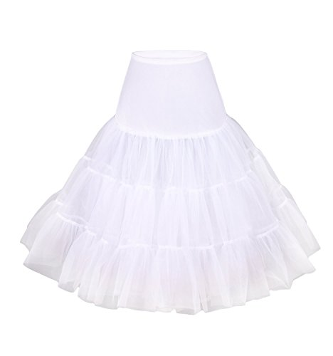 (E.Joy Online Bridal Crinoline 50s Knee Length Plus Size Petticoat Skirt Dress for Women Girl White L)