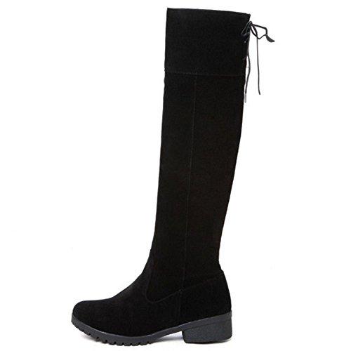 COOLCEPT Damen Lange Stiefel Ohne Verschluss Black