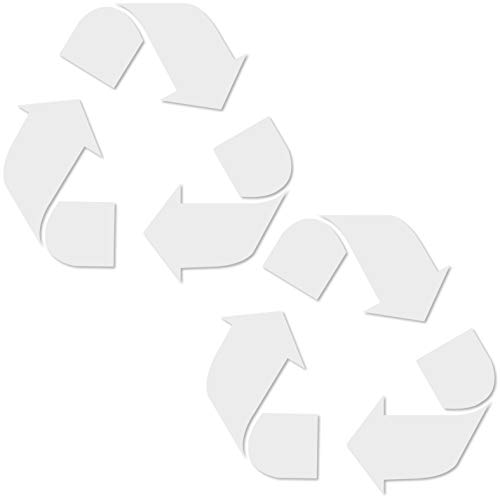 Symbol Vinyl Stickers - Vinyl Friend Recycle Symbol Sticker Decal (5in x 5in 2 Pack) to Organize Trash cans or Garbage containers and Walls -Countour Cut - Small White Sticker