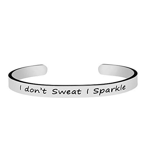 Joycuff Gym Workout Sport Fitness Jewelry for Women Silver Cuff Bracelet Mantra I Don't Sweat I Sparkle by Joycuff