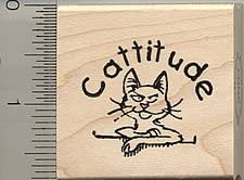 Wood Mounted Cattitude Cat Rubber Stamp