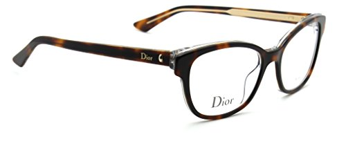 Christian Dior Montaigne 3 Women Cat-Eye Eyeglasses (Havana Crystal 0G9Q, - Glasses Eye Cat Optical Dior