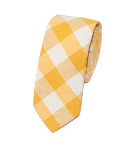 Men's Slim Yellow & White Gingham Checkered Necktie Tie ()