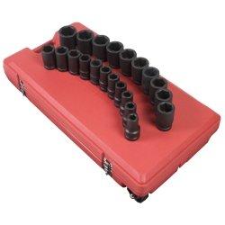 Sunex 5693 1-Inch Drive SAE Deep Impact Socket Set, 21 piece