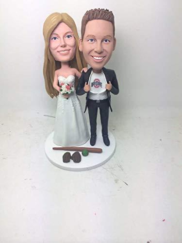 Custom Personalized Baseball Wedding Cake Topper Bobble Head Clay Figurine Based on Customers' Photos Birthday Cake Topper Wedding Gifts (2 Head Bobble Custom)