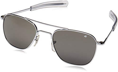 AO Eyewear American Optical - Original Pilot Aviator Sunglasses with Bayonet Temple and Silver Frame, True Color Grey Glass ()