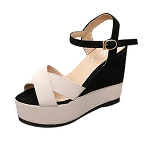 MILIMIEYIK Sandals for Women with Heels, Womens Espadrille Platform Wedge Heel Peep Toe Ankle Strap Slingback Suede Sandals -