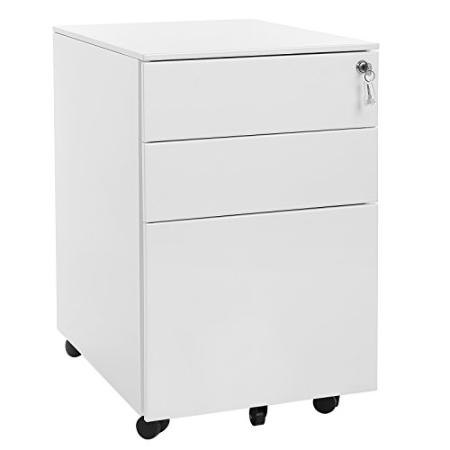 (SONGMICS Steel File Cabinet 3 Drawer with Lock Mobile Pedestal Under Desk Fully Assembled Except Casters White UOFC60WT)