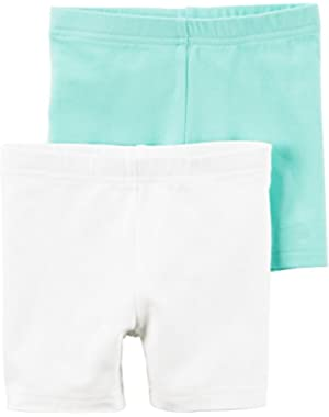 Little Girls' 2 Pack Playground Shorts (White Mint)