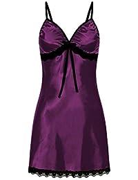 d2c3589d616 PJ Women s Nighte Dress Plus Size Lace Bow Lingerie Babydoll Nightwear  Sleepskirt